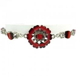 Burgundy Rhinestone Marigold Fashion Flower Bracelet