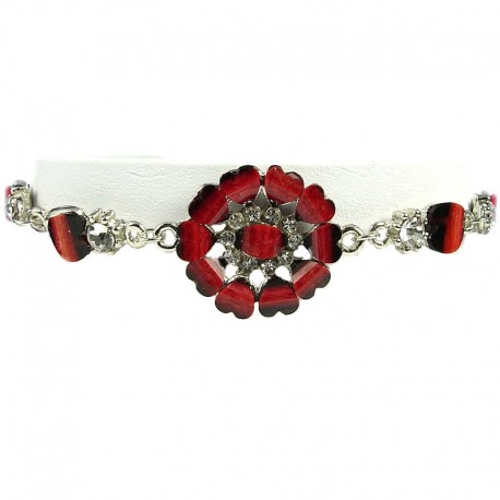 Women's Gift, Costume Jewellery, Burgundy Rhinestone Marigold Fashion Flower Bracelet