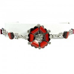 Burgundy Rhinestone Poppy Fashion Flower Bracelet