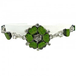 Chic Costume Jewellery, Women's Gift, Green Rhinestone Poppy Fashion Flower Bracelet