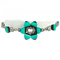 Young Women's Costume Jewellery, Girls Gift, Aqua Blue Rhinestone Lily Fashion Flower Bracelet