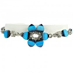 Women's gift, Chic Costume Jewellery, Blue Rhinestone Lily Fashion Flower Bracelet
