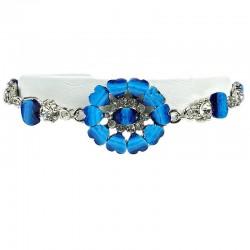 Dark Blue Rhinestone Marigold Flower Bracelet