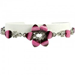 Women's Girls Gift, Dark Pink Costume Jewellery, Fuchsia Rhinestone Lily Fashion Flower Bracelet