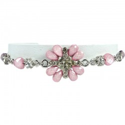 Cute Girls Costume Jewellery, Young Women's Gift, Soft Pink Rhinestone Peony Fashion Flower Bracelet