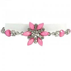 Pink Rhinestone Iris Cristata Fashion Flower Bracelet