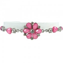 Women's Gift, Girls Costume Jewellery, Pink Rhinestone Daisy Fashion Flower Bracelet