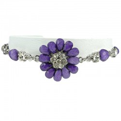 Women' Costume Jewellery, Girls Gift, Purple Diamante Chrysanthemum Fashion Flower Bracelet
