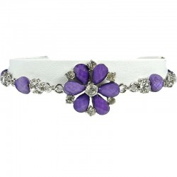 Women's Costume Jewellery, Girls Gift, Purple Diamante Daisy Fashion Flower Bracelet