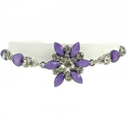 Women' Costume Jewellery, Girls Gift, Purple Diamante Iris Cristata Fashion Flower bracelet