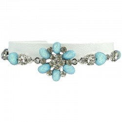 Young Women's Costume Jewellery, Girls Gifts, Light Blue Rhinestone Fistulosa Fashion Flower Bracelet