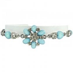 Young Women's Costume Jewellery, Girls Gifts, Light Blue Rhinestone Fistulosa Fashion Flower Bracelet
