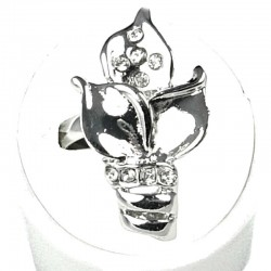 Fashion Costume Jewellery, Adjustable Clear Diamante Elegant Flower Blossom Ring
