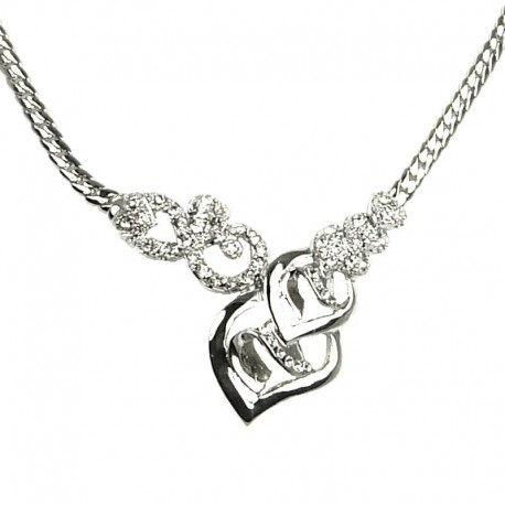 Chic Costume Jewellery, Women's gift, Elegant Flower Blossom Silver Plated Clear Diamante Fashion Necklace