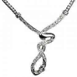 Chic Costume Jewellery, Women's Gift, Elegant Silver Plated Twist Clear Diamante Cool Fashion Necklace