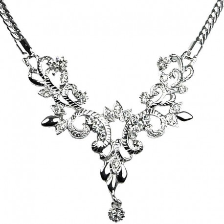 Feminine Dress Costume Jewellery, Women's Gift, Elegant Silver Plated Floral Clear Diamante Fashion Necklace