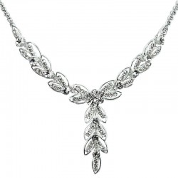 Fashion Bridal Costume Jewellery, Wedding Gift, Clear Diamante Teardrop Link Dress Necklace