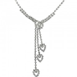 Bridal Costume Jewellery, Wedding Gift, Clear Diamante Triple Heart Drop Dress Necklace