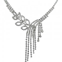 Cool Fashion Bridal Jewellery, Clear Diamante Floral Tassel Cascade Costume Dress Necklace