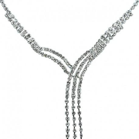 Fashion Party Prom Bridal Costume Jewellery, Wedding Git, Clear Diamante Cascade Charming Tassel Dress Necklace