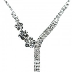 Fashion Bridal Costume Jewellery Gift, Clear Diamante Daisy Tassel Dress Necklace