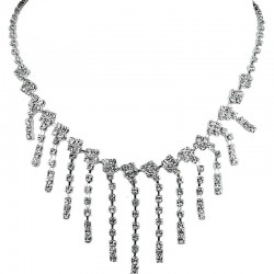 Clear Diamante Waterfall Cascade Dress Necklace