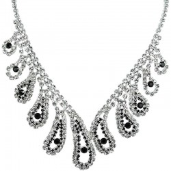 Bold Costume Jewellery, Wedding Gift, Black & Clear Diamante Beauty Teardrop Wave Bib Statement Dress Necklace