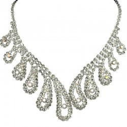Bold Costume Jewellery, Wedding Gift, Clear Diamante Beauty Teardrop Wave Bib Statement Dress Necklace