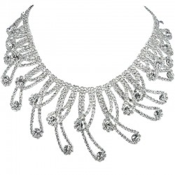 Bridal Costume Jewellery, Wedding Gift, Clear Diamante Bold Charming Teardrop Wave Bib Statement Dress Necklace