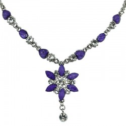 Purple Diamante Iris Cristata Fashion Flower Dangle Necklace