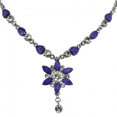 Fashion Women's Costume Jewellery, Girls Gift, Purple Diamante Iris Cristata Flower Dangle Necklace
