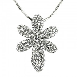 Women Girls Gift, Fashion Costume Jewellery, Clear Diamante Lucky Flower Pendant with Chain Necklace