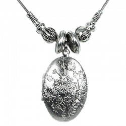 Love Costume Jewellery, Fashion Women Girls Gift, Floral Blossom Silver Oval Locket Necklace