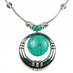 Cool Fashion Necklaces, Women's Gift, Girls Costume Jewellery, Round Turquoise Circle Loop Necklace
