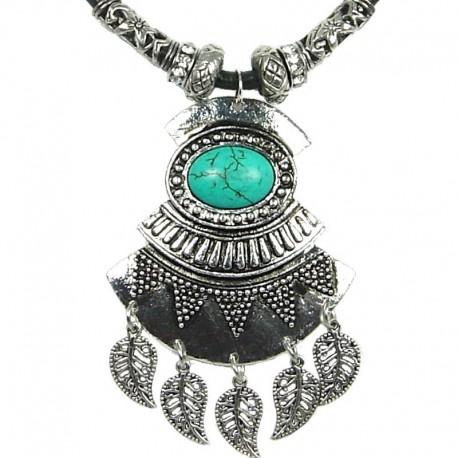 Turquoise Art Deco Geometric Black Leather Cord Necklace