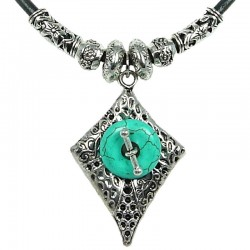 Fashion Rope Costume Jewellery, Turquoise Donut Circle Vintage Silver Rhombus Black Leather Cord Necklace