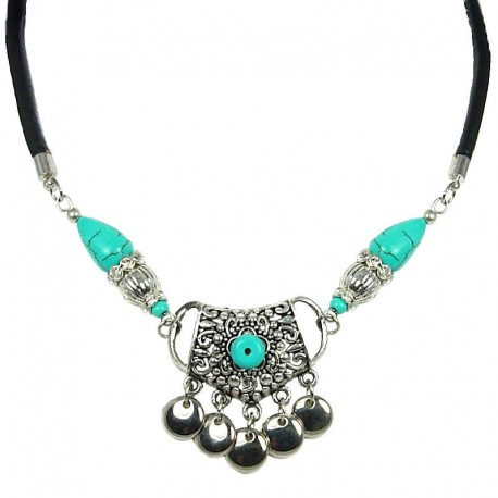 Black Rope Costume Jewellery, Fashion Girls Women's Gift, Turquoise Flowery Pentagon Leather Cord Necklace