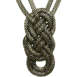 Brass Chunky Woven Mesh Chain Bold Statement Long Necklace