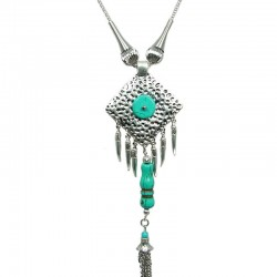 Rhombus Turquoise Long Drop Tassel Long Necklace