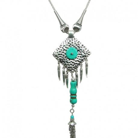 Fashion Women's Gift, Natural Stone Costume Jewellery, Rhombus Turquoise Long Drop Tassel Long Necklace