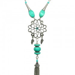 Silver Flower Turquoise Bead Long Drop Tassel Long Necklace
