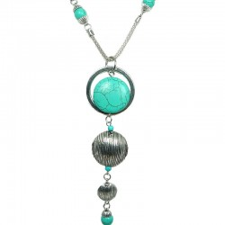 Bubble Circle Turquoise Long Drop Long Necklace