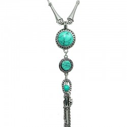 Circle Turquoise Tassel Drop Long Necklace