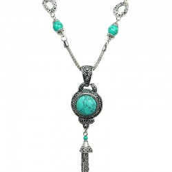 Round Turquoise Tassel Dangle Long Necklace