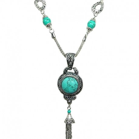 Long Drop Costume Jewellery, Women's Gift, Fashion Necklaces, Round Turquoise Tassel Dangle Long Necklace