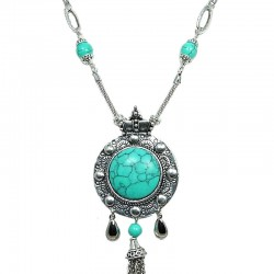 Royal Round Turquoise Tassel Dangle Long Necklace