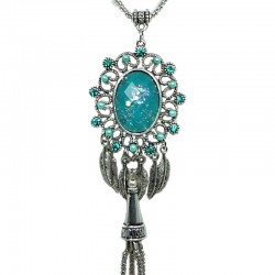 Aqua Blue Oval Rhinestone Long Drop Tassel Long Necklace