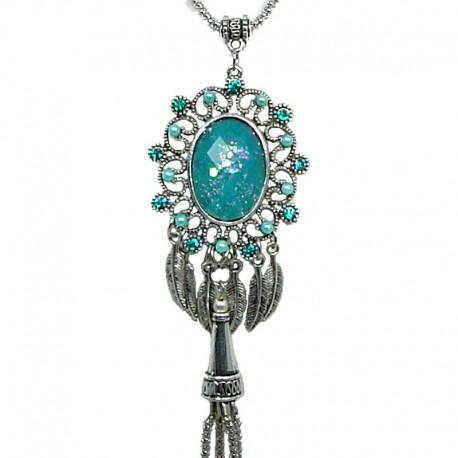 Chic Costume Jewellery, Gift for Her Women Birthday Anniversary X'mas, Royal Round Turquoise Tassel Dangle Long Necklace