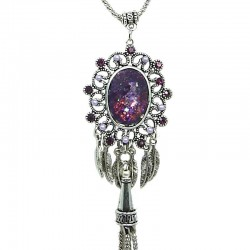 Purple Oval Rhinestone Long Drop Tassel Long Necklace