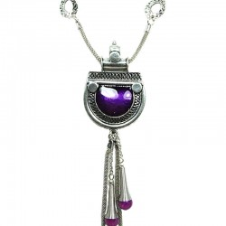Purple Enamel Love-Bomb Tassel Drop Long Necklace